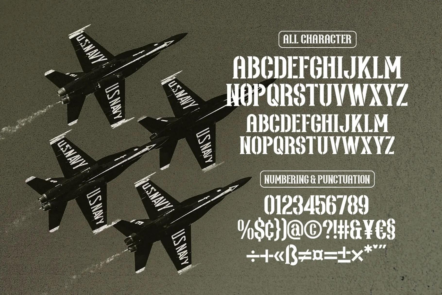Northash Stencil Vintage Font -3