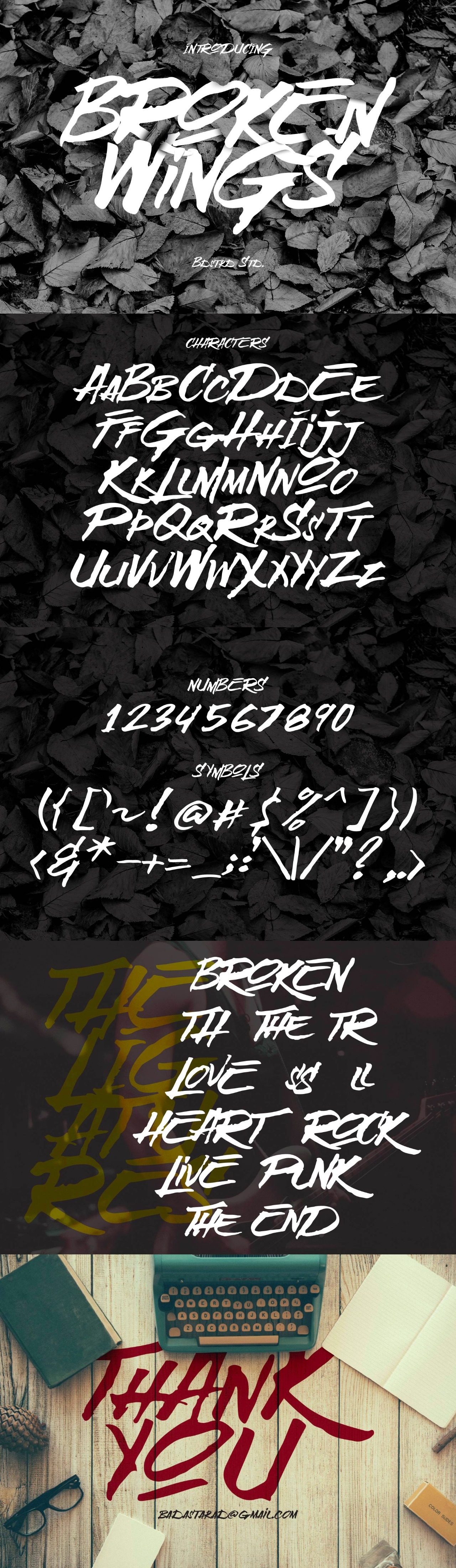 Broken-Wings-Free-Hand-Drawn-Font