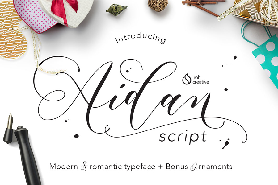 Aidan Romantic Script Font Free - Dafont Free