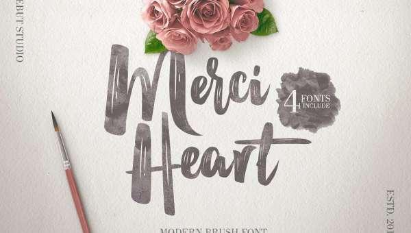 Merci Heart Brush Font Free Download