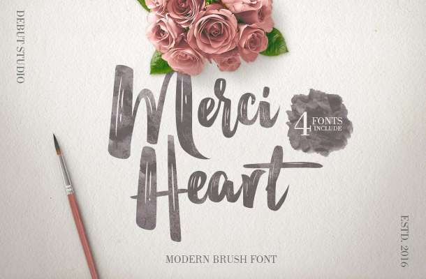 Merci Heart Brush Font Free Download