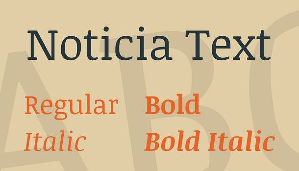 Noticia Text Slab Serif Font Family