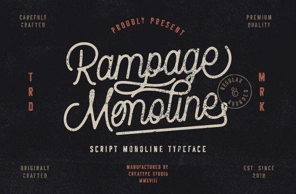 Rampage Monoline Script Font