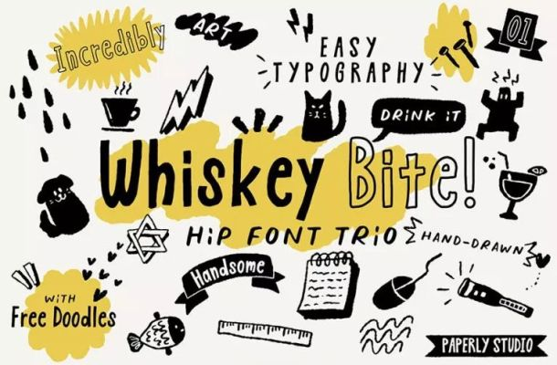 Whiskey Bite Hip Font Trio
