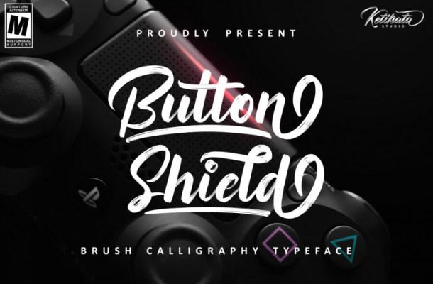 Button Shield Brush Font