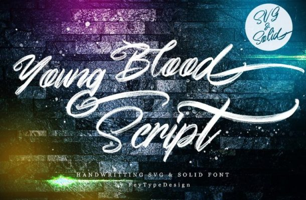 Young Blood SVG and Solid Script Font