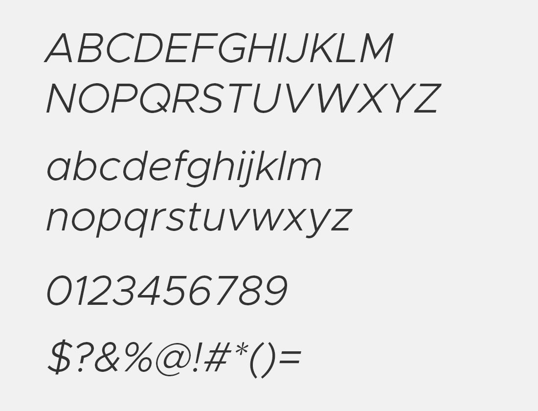6 Metropolis light italic font avn