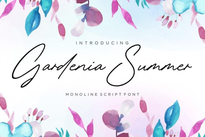 Gardenia Summer Monoline Script Font-1