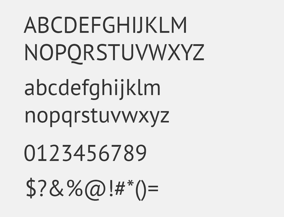 15 PT Sans font