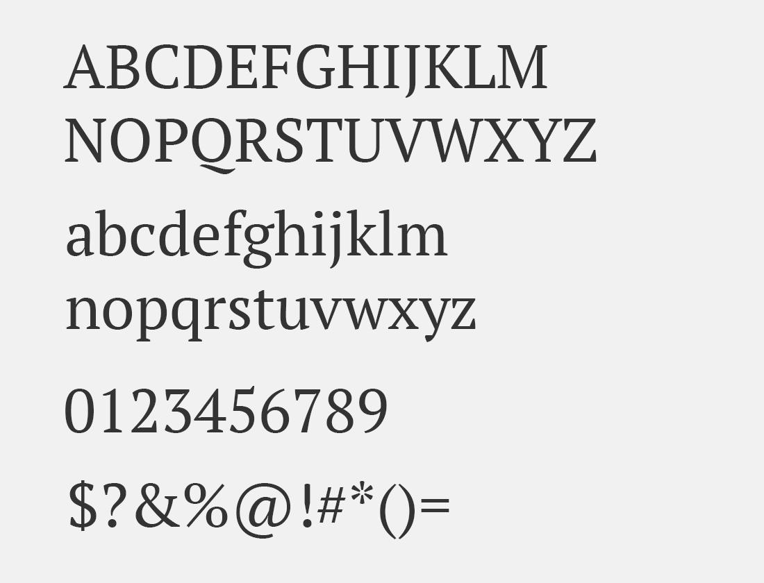 20 PT Serif font