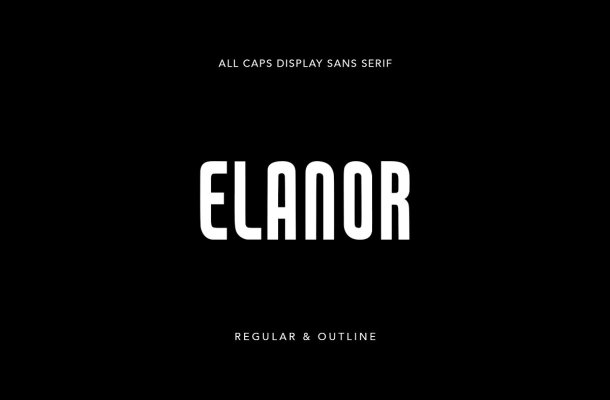 Elanor Display Sans Outline Typeface