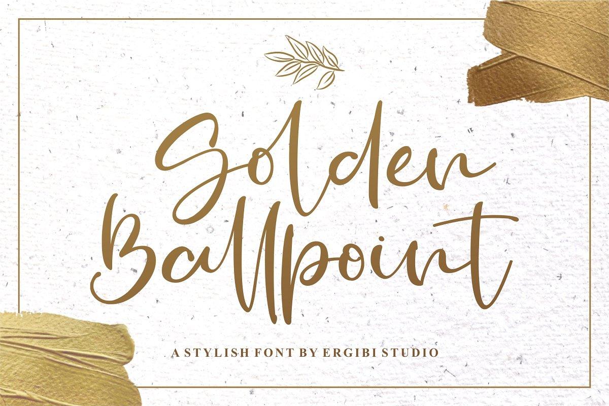 Golden Ballpoint Handwritten Script Font-1