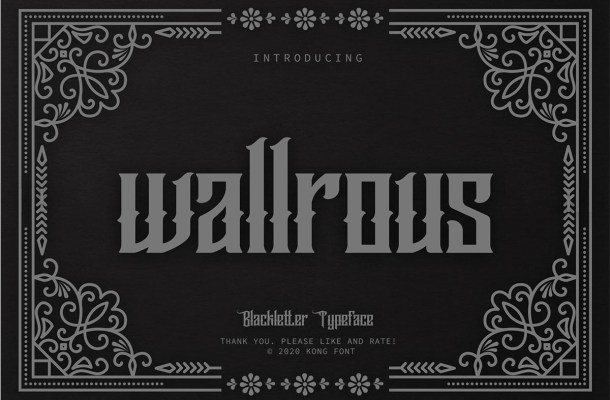 Wallrous Blackletter Tattoo Typeface