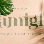 Amigh Modern Serif Stencil Font