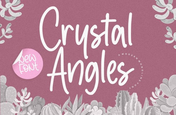 Crystal Angles Monoline Script Font