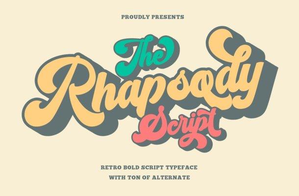 Rhapsody Retro Bold Script Typeface