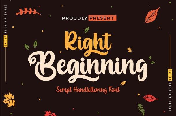 Right Beginning Bold Script Font