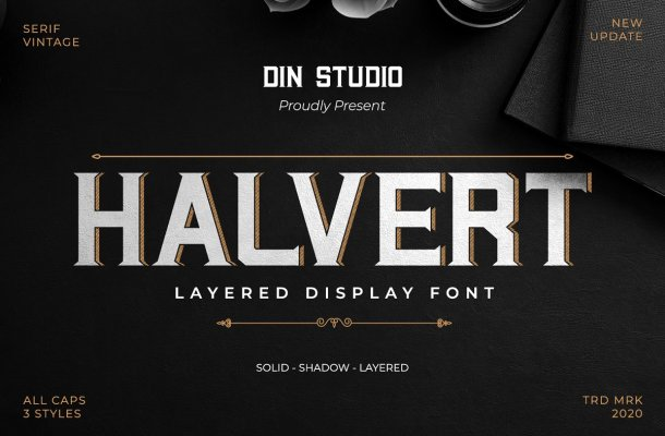 Halvert Layered Display Font