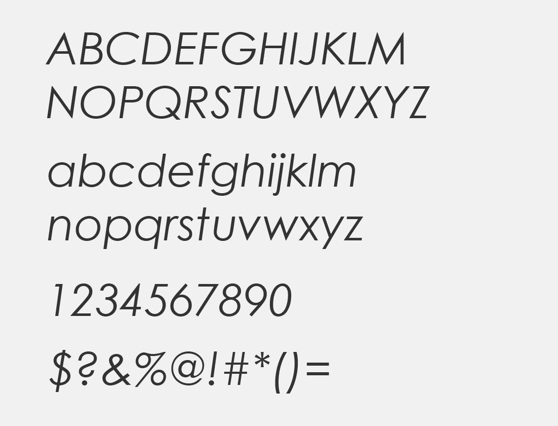 century gothic italic character