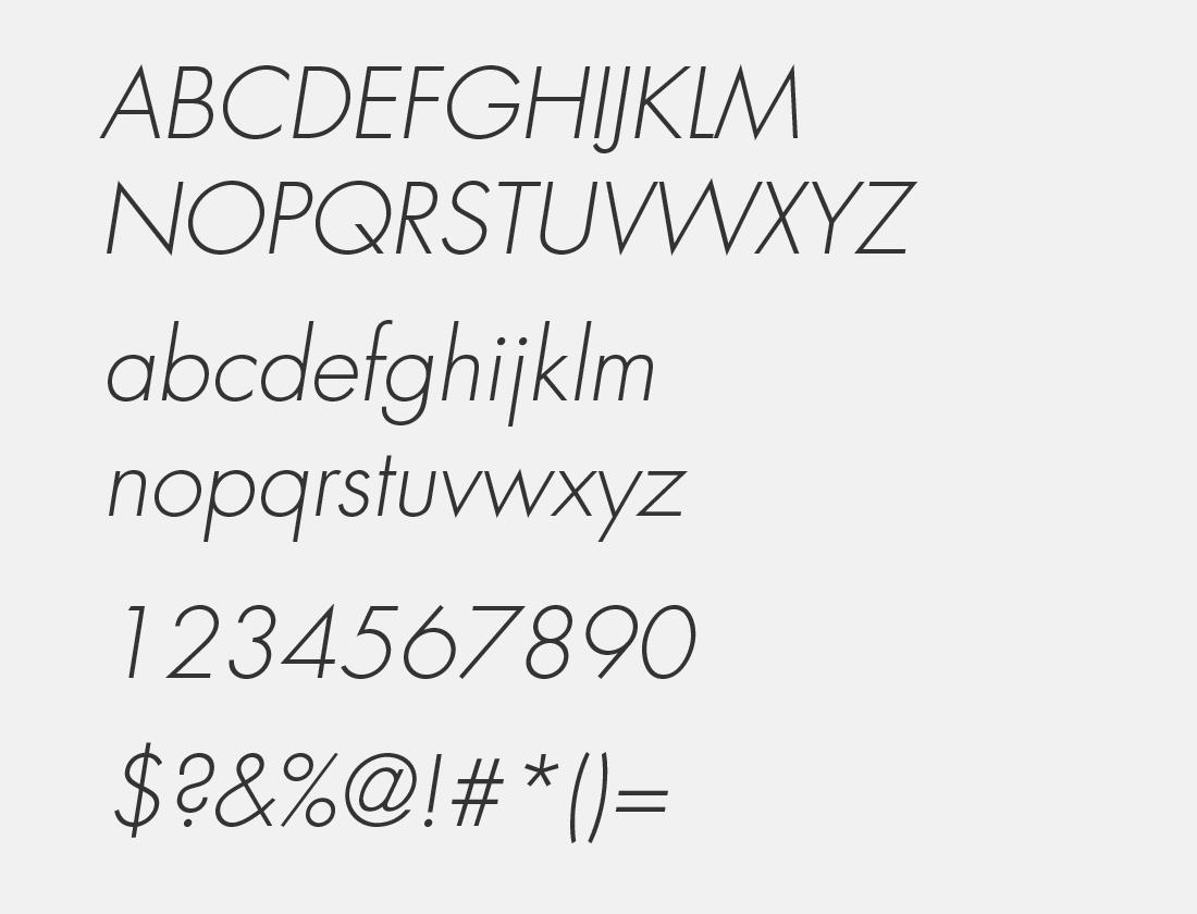 02 Sans Serif FLF light italic