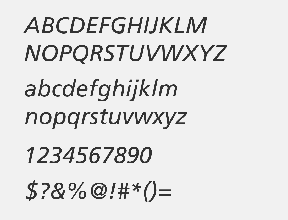 Frutiger italic glyphs