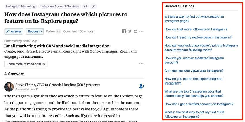 Quora search and related questions to find new blog post ideas