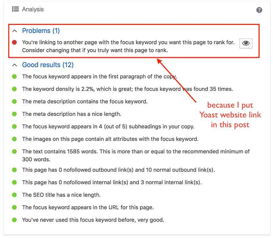 Yoast SEO plugin for blog post