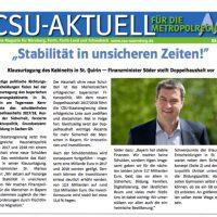 CSU-AKTUELL online Magazin für Nürnberg, Fürth, Fürth-Land und Schwabach #08-2016
