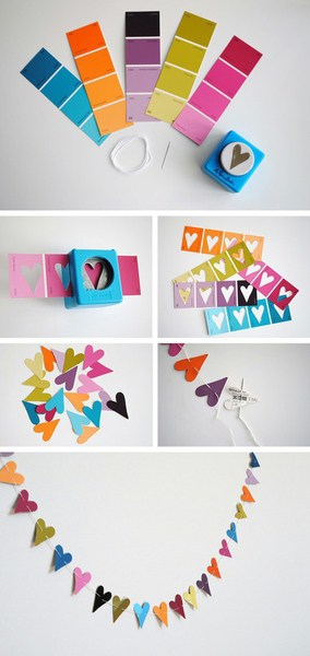 DagmarBleasdale.com: Valentine's Day heart paint chips DIY garland