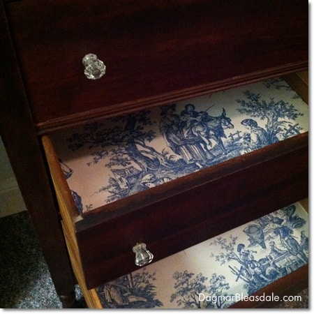 DIY dresser makeover with toile wallpaper