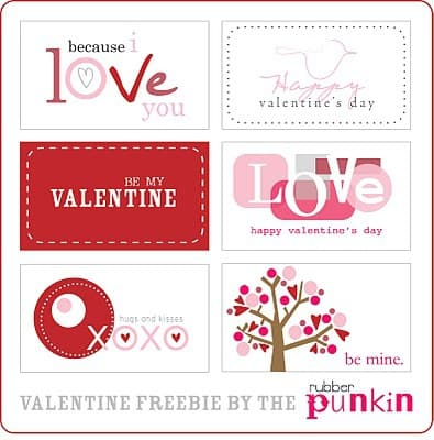 5 Sets of Free Valentine's Day Cards and Tags Printables