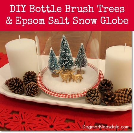 DIY snow globe with Epsom salt and bottle brush trees