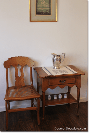 vintage cane chair and Ethan Allen side table, thrifting finds
