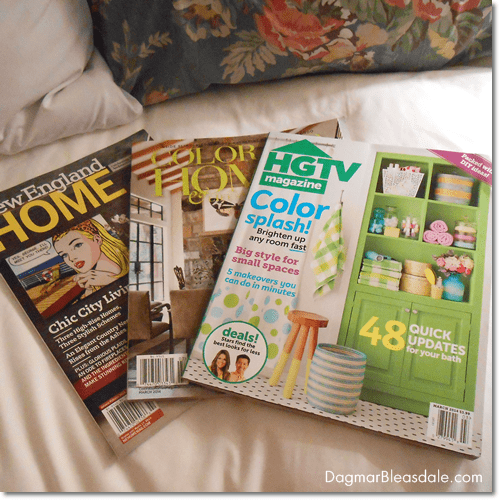 interior design magazine on hotel bed