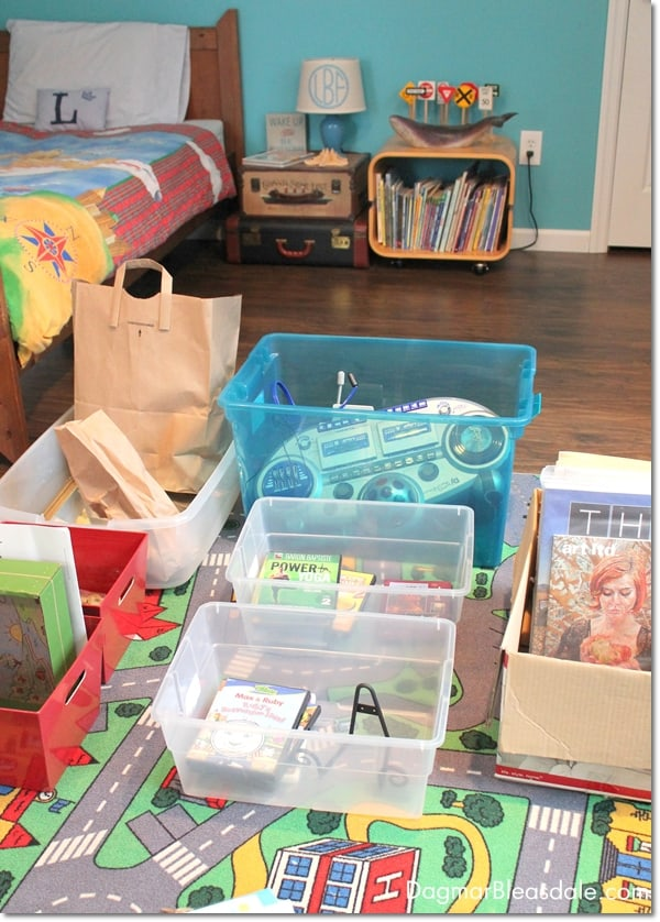 organizing with bins