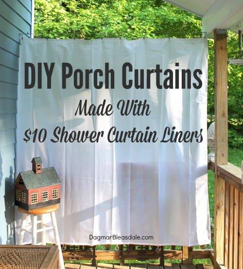 DIY porch curtains with shower curtains, DagmarBleasdale.com