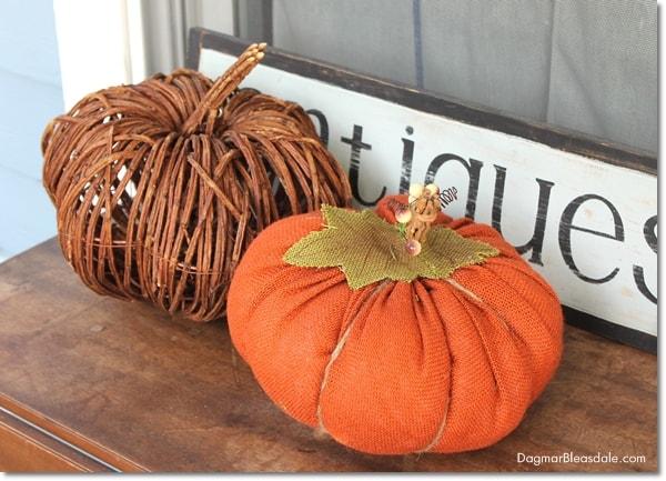 fabric pumpkin and branch pumpkin