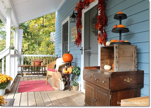 fall decor on cottage porch