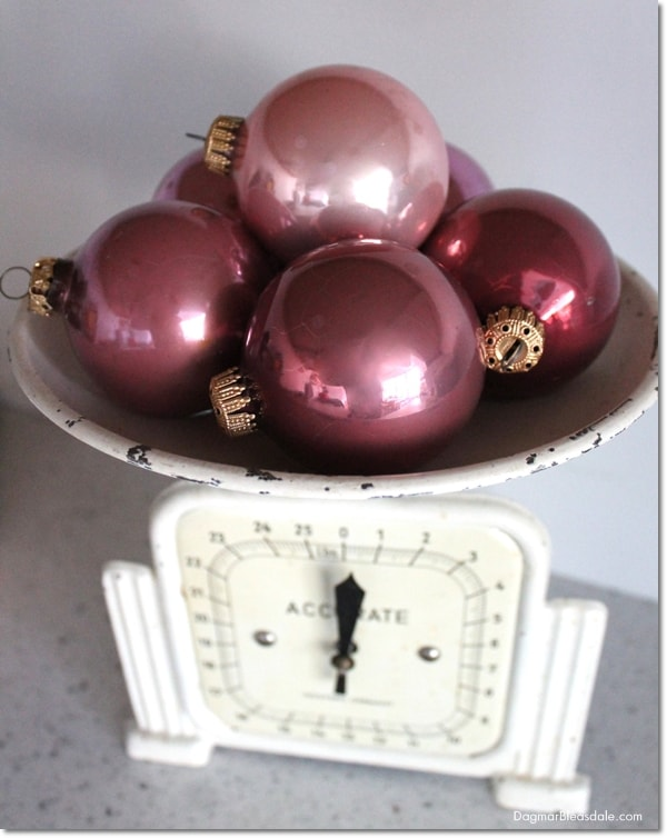 vintage Christmas tree ornaments on vintage scale, DagmarBleasdale.com
