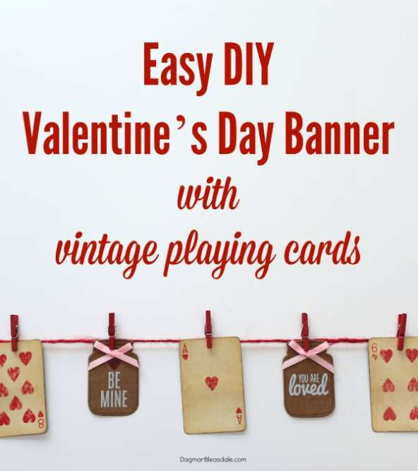 Valentine's Day banner with vintage playing cards