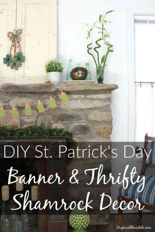 Diy st patrick 39 s day banner thrifty shamrock for Shamrock decorations home