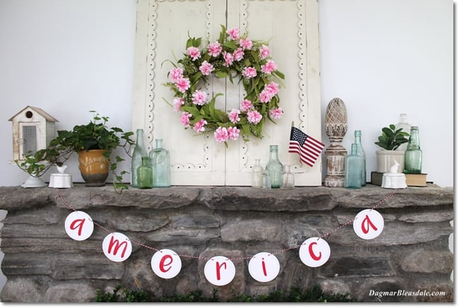 patriotic cottage decor, DagmarBkeasdale.com