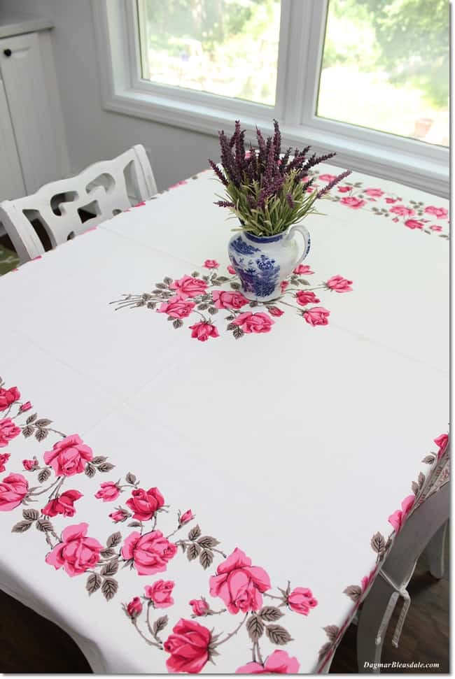 vintage pink roses tablecloth