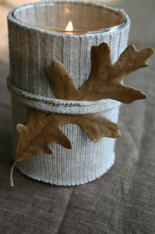 DIY sweater candle, Thanksgiving Table Decor Ideas, DagmarBleasdale.com