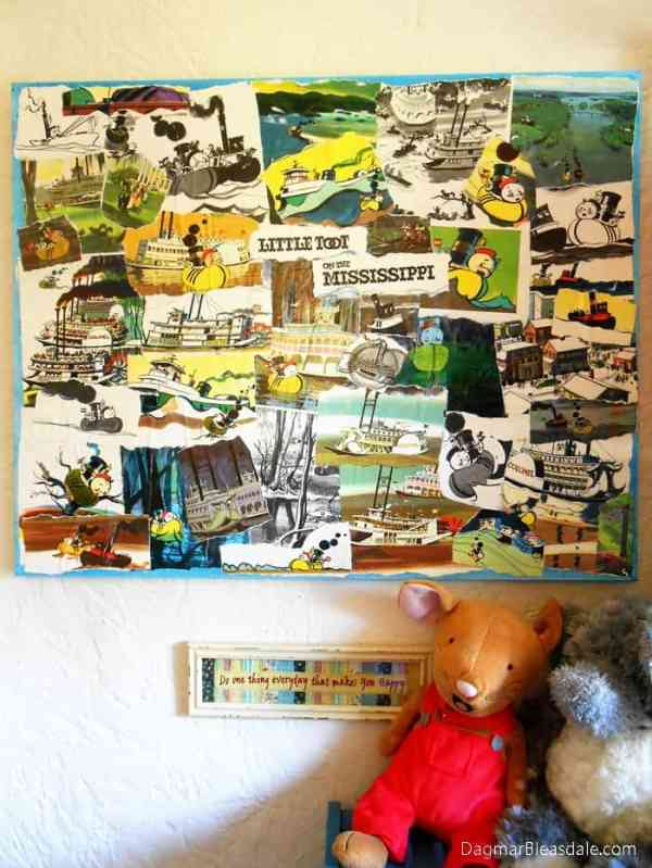 Children's Book Collage on Canvas, Easy DIY Wall Art, DagmarBleasdale.com