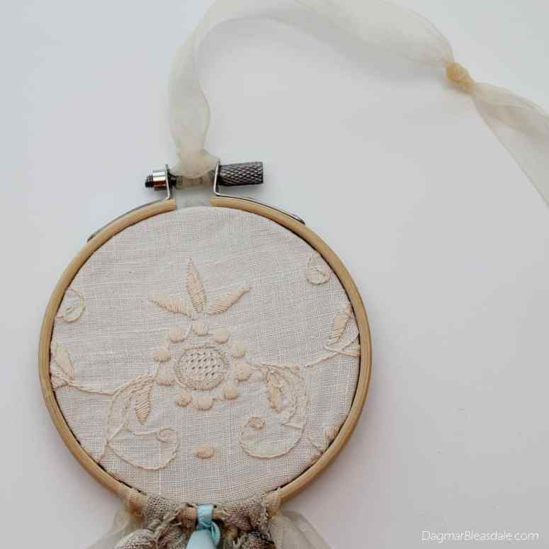 DIY dreamcatcher with vintage lace and ribbons, DagmarBleasdale.com