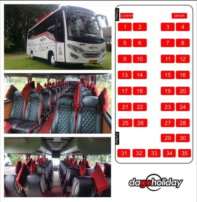 Interior dan Jumlah Kursi Bus Pariwisata Medium Executive 35 seat