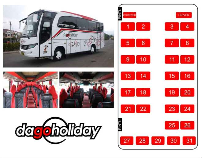 Interior dan Jumlah Kursi Bus Pariwisata Medium Standart 31 seat