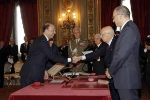 ALFANO GIURA AL QUIRINALE CON LETTA E NAPOLITANO