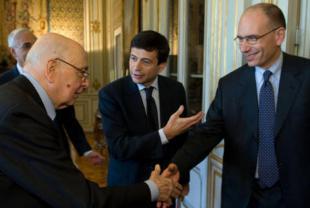 Napolitano Maurizio Lupi ed Enrico Letta